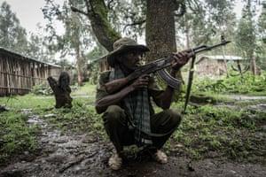 An Amhara militia member near the mountain village of Chenna, Ethiopia
