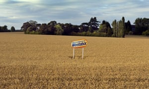 Wheat crop with Weetabix sign