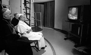 Pope Paul VI watches the first manned lunar landing on television at the Vatican Observatory south-east of Rome, Italy