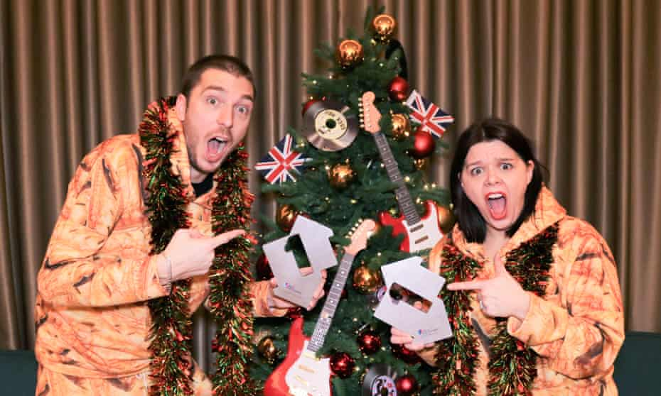 LadBaby, AKA Mark and Roxanne Hoyle, with their awards for the 2019 Christmas No 1.