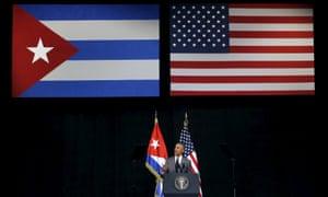 Barack Obama addressing the Cuban people at the Gran Teatro de la Habana on Tuesday.