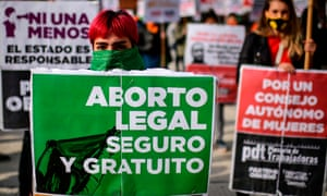 Protesters in Buenos Aires demanding the legalisation of abortion earlier this year.