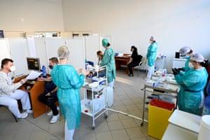 Coronavirus vaccination continues at the University Hospital in Nitra, Slovakia on 11 January, 2021.