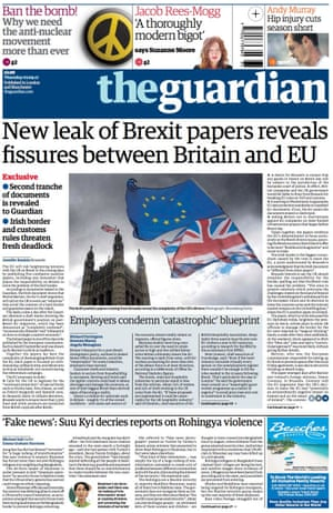Guardian front page, 7 September 2017