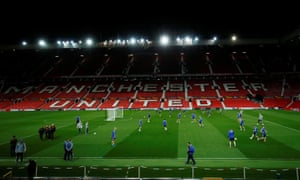 Astana train at Old Trafford in preparation for their Europa League game against Manchester United.