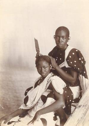 Natives [sic] Hair Dressing, Zanzibar, Tanzania, late 19th century.