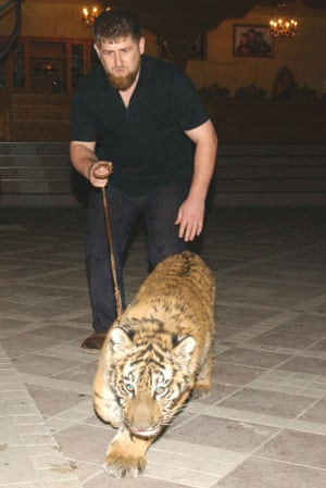 Kadyrov pictured in 2006 with his pet tiger