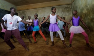 Mike Wamaya trains with students at the ballet school in Kibera, Nairobi.