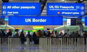 Border control at Heathrow airport