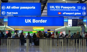 Passengers going through UK immigration controls at Heathrow