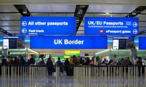 Border of UK at airport