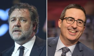 A composite of Russell Crowe and John Oliver