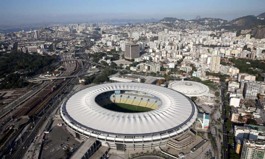 Aerial view of the Maracana Complex with one year to go to the Rio 2016 Olympic Games, on 5 August 2015.