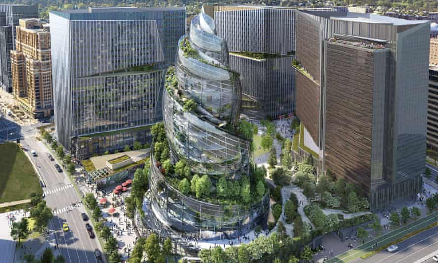 An artist's rendering of the proposed Amazon HQ in Virginia, which has been likened to a poo emoji.