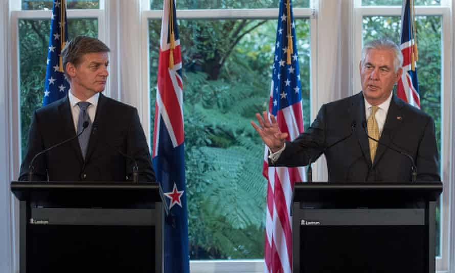 US Secretary of State Rex Tillerson (R) speaks to the media beside New Zealand's Prime Minister Bill English.
