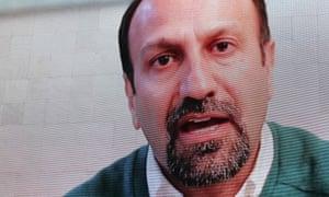 Iranian film-maker Asghar Farhadi speaks during the public screening of The Salesman in Trafalgar Square.