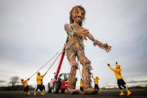Glasgow, Scotland Puppeteers from Vision Mechanic rehearsing with Scotland's largest puppet, a ten-metre tall sea goddess called Storm, in the grounds of the Museum of Flight, East Lothian. Storm, made entirely from recycled materials, was unveiled ahead of its debut at the Celtic Connections Costal Day celebrations in Glasgow this weekend