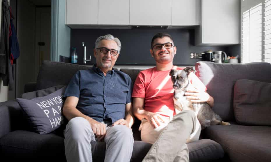 Mike Goldberg, his partner Heyder Magalhaes and their dog, Effy, who are relocating from north London.