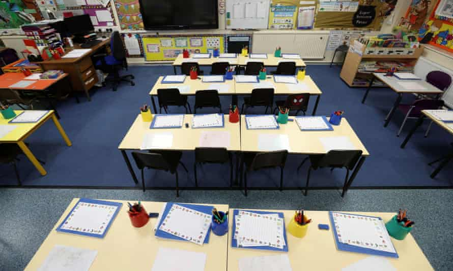 An empty classroom is seen at Westlands primary school in Newcastle-under-Lyme, Staffordshire.
