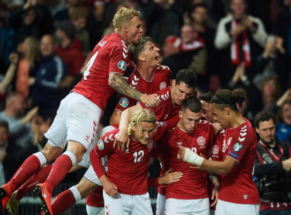 Denmark celebrate after scoring their first goal in the home Euro 2020 qualifier against the Republic of Ireland