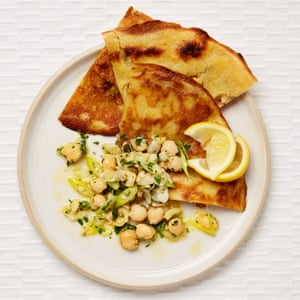 Yotam Ottolenghi's socca with chickpea and lemon salsa.