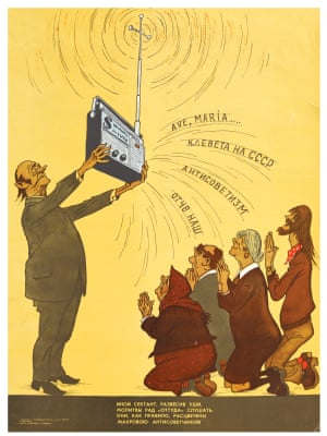 'Another gullible sectarian / is glad to hear prayers from 'over there'. / They are, as a rule, stained / With outright anti-Sovietism!' Radio broadcast: Ave, Maria..., Slander of the USSR, Anti-Sovietism, Our Father Poster, 1977