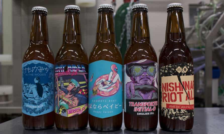 A selection of Derailleur Beer Works' beers