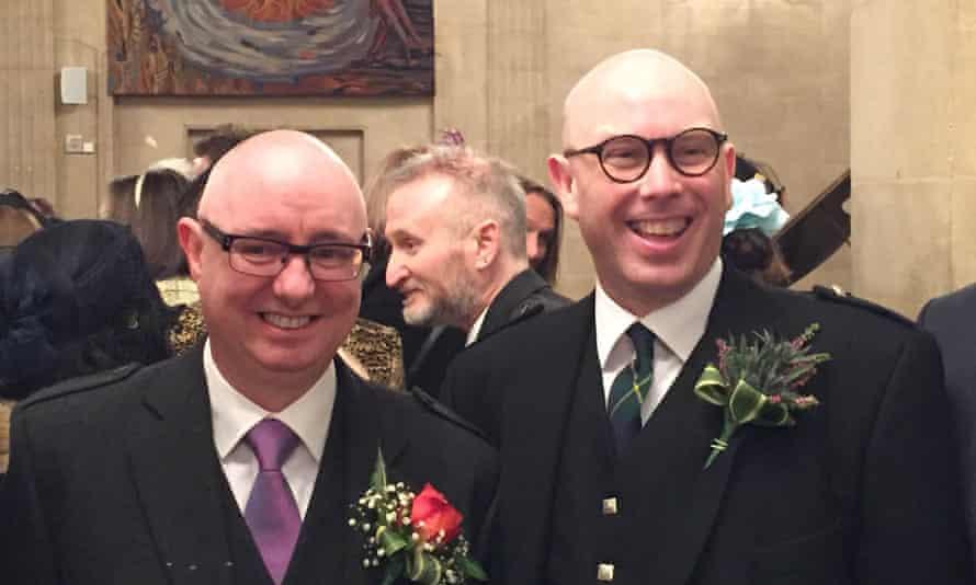 John Cunningham and John Johnston marry at the Dutch church in the City of London on Thursday 14 January 2016