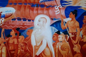 A painting of a female Buddhist monk is displayed at the Songdhammakalyani monastery