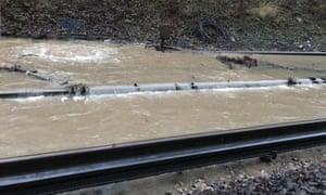 Rail tracks in Balcombe flooded on Friday.