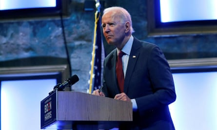 Joe Biden speaks to reporters in Wilmington, Delaware Sunday.
