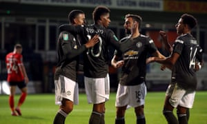 Manchester United's Marcus Rashford (second left) celebrates scoring his side's second goal of the game with his team-mates.