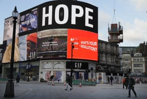 London, England – An advert displays the word 'hope' at a deserted Piccadilly Circus in the normally busy tourist and sightseeing area. Britain's prime minister, Boris Johnson, ordered a new national lockdown for England which means people will only be able to leave their homes for limited reasons.
