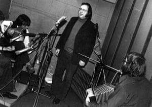 Roy Harris with musicians in recording studio