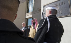 Mohammed bin Salman Al Saud is greeted by US Secretary of Defense James Mattis during his official visit to Washington.