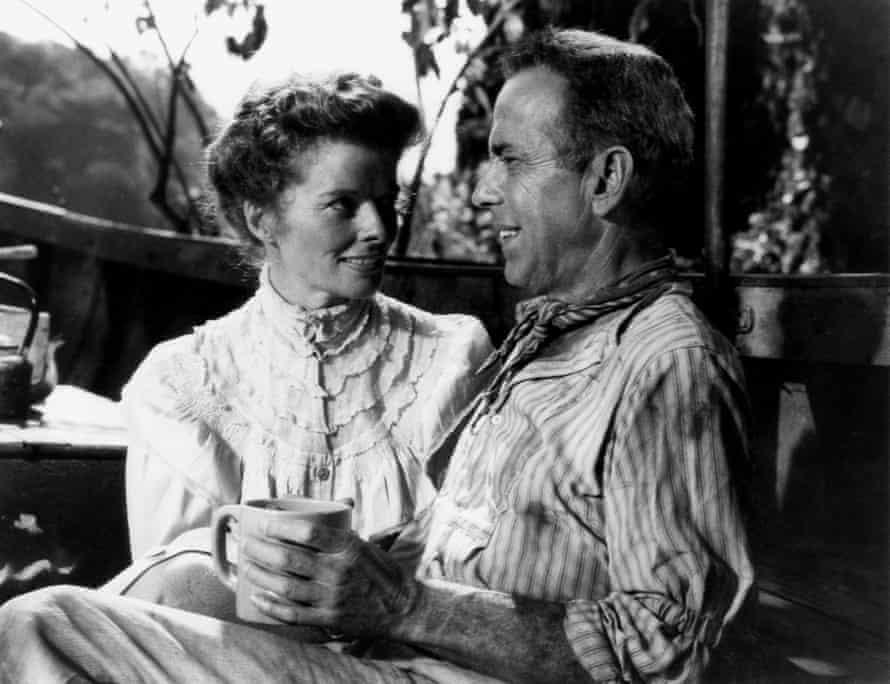 Hepburn and Humphrey Bogart in The African Queen