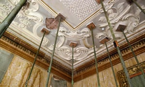 Detail of the ceiling in the Speakers' Parlour, which survived almost intact.