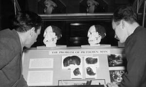 Two men viewing a 1953 display entitled 'The Problem of Piltdown Man'. The cranial fragments, found at Piltdown, Sussex, from 1912 to 1914, were formally denounced as fakes in 1953, being comprised of the bones of a man and an orangutan.