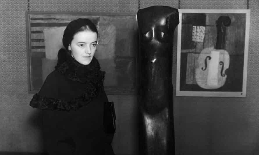 Barbara Hepworth in London in 1932 with her sculpture Woman.