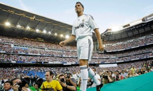 They shoot, he scores … Cristiano Ronaldo in Madrid, 2009.