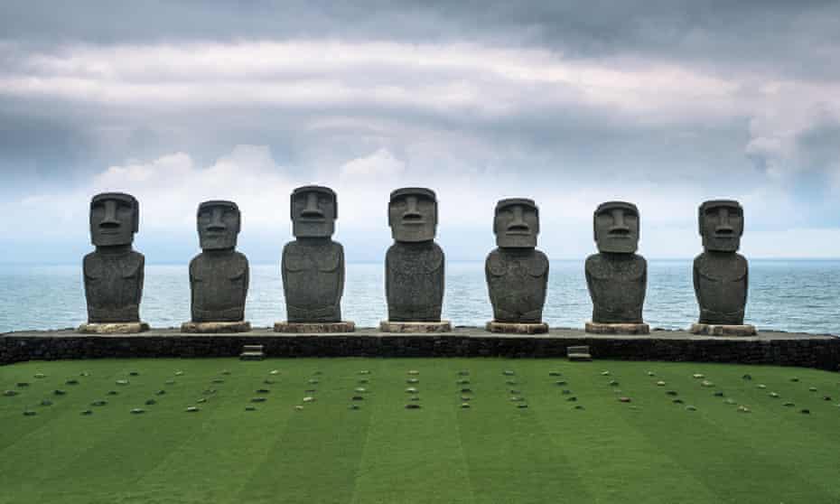 The seven Easter Island replica Moai statues at Sun Messe Nichinan in Miyazaki, Japan.