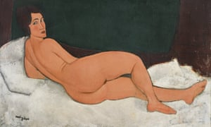An unabashed, hedonistic, erotic nude … Modigliani's 1917 oil painting Modigliani's Nu Couché (Sur le Côté Gauche), which has been sold for $157.2m at Sotheby's in New York.