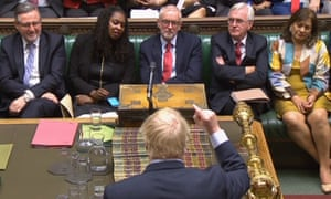 Labour's frontbenchers face Boris Johnson in the Commons following the Queen's speech on 14 October.