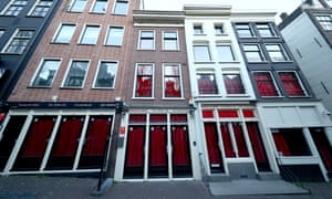 A general view of windows in Amsterdam's Red Light District.