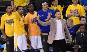 Stephen Curry and his team-mates cheer as the Warriors roll towards the next round of the playoffs