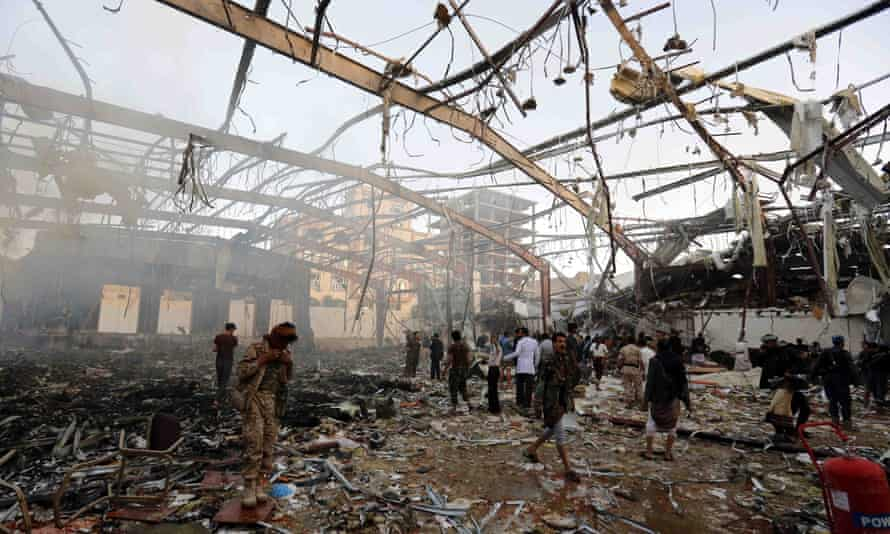 The aftermath of a Saudi-led coalition airstrike in Sanaa, Yemen, in 2016