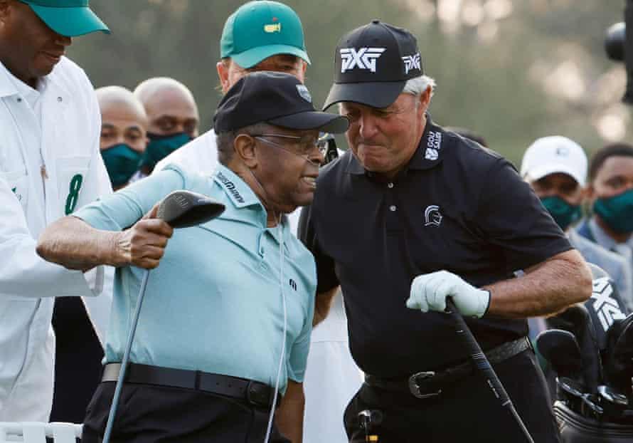 Gary Player with Lee Elder in Augusta.