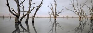 Nici Cumpston OAM Nookamka – Lake Bonney 2007 watercolour and pencil on inkjet print on canvas 74.2 × 203.0 cm National Gallery of Victoria, Melbourne Purchased, Victorian Foundation for Living Australian Artists, 2008 © Nici Cumpston