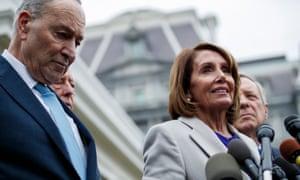 Speaker of the House Nancy Pelosi with Senate Minority Leader Chuck Schumer.