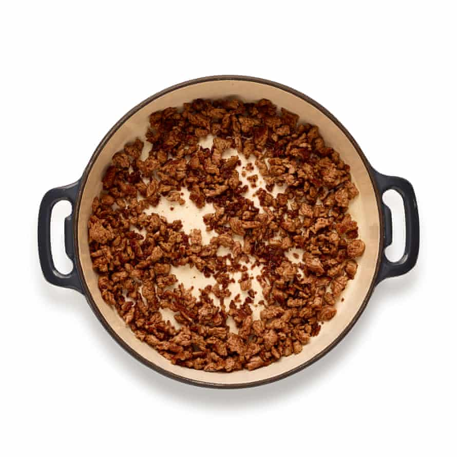 Fry the minced lamb until crisp – in dripping, rather than oil – for a fuller flavour